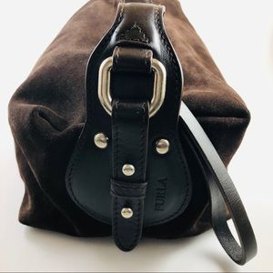 Furla Brown Suede Purse Made In Italy
